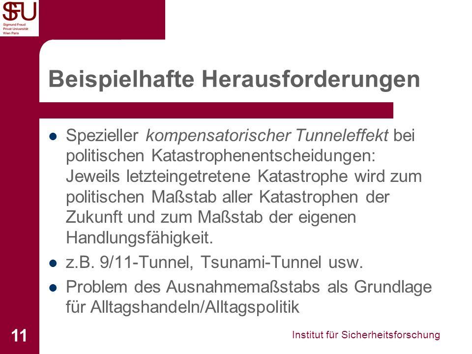 Institut für Sicherheitsforschung 11 Beispielhafte Herausforderungen Spezieller kompensatorischer Tunneleffekt bei politischen Katastrophenentscheidun