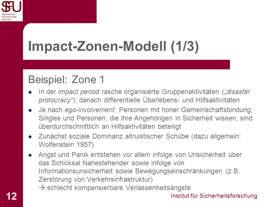 Institut für Sicherheitsforschung 12 Impact-Zonen-Modell (1/3) Beispiel: Zone 1 In der impact period rasche organisierte Gruppenaktivitäten (disaster
