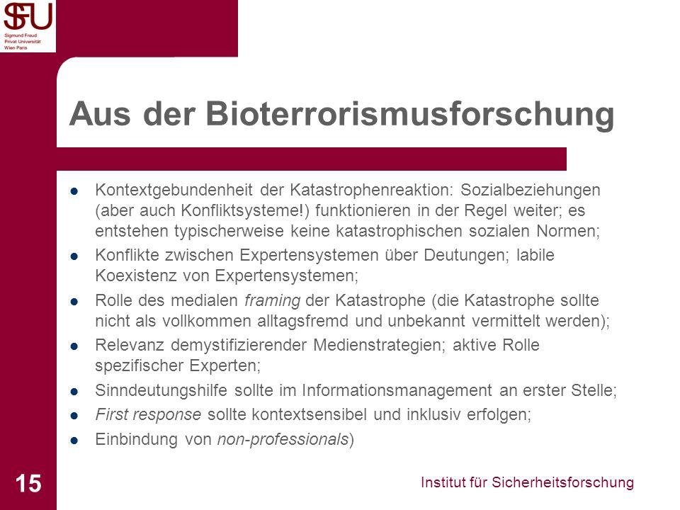Institut für Sicherheitsforschung 15 Aus der Bioterrorismusforschung Kontextgebundenheit der Katastrophenreaktion: Sozialbeziehungen (aber auch Konfli
