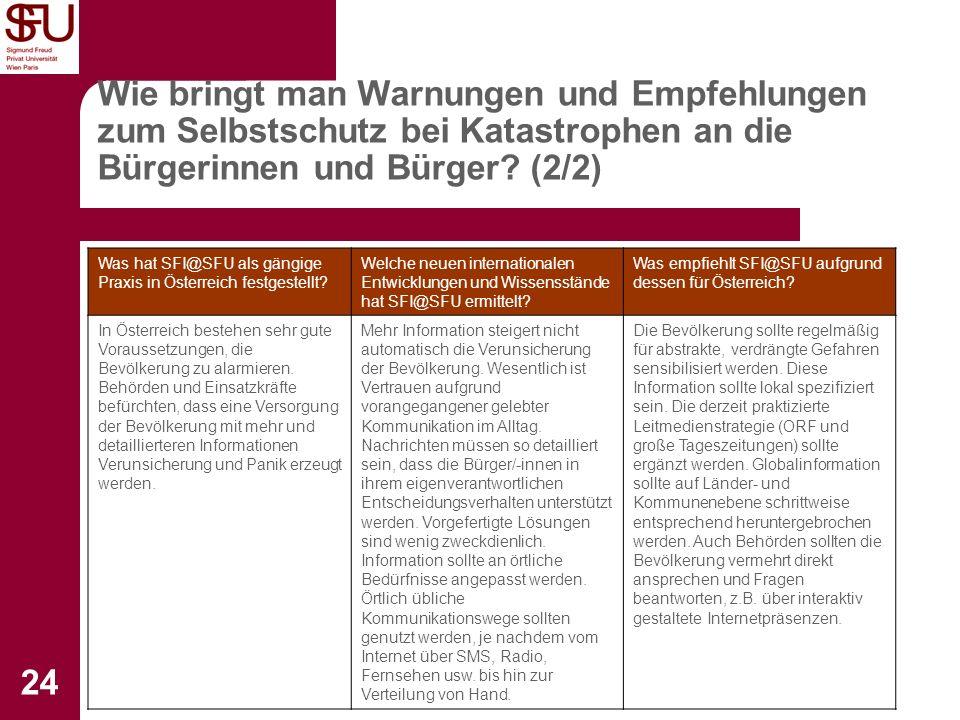 Institut für Sicherheitsforschung 24 Wie bringt man Warnungen und Empfehlungen zum Selbstschutz bei Katastrophen an die Bürgerinnen und Bürger? (2/2)