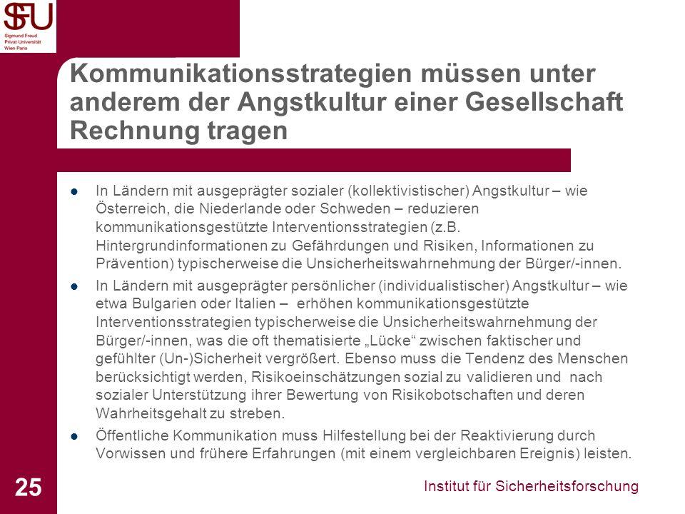 Institut für Sicherheitsforschung 25 Kommunikationsstrategien müssen unter anderem der Angstkultur einer Gesellschaft Rechnung tragen In Ländern mit a