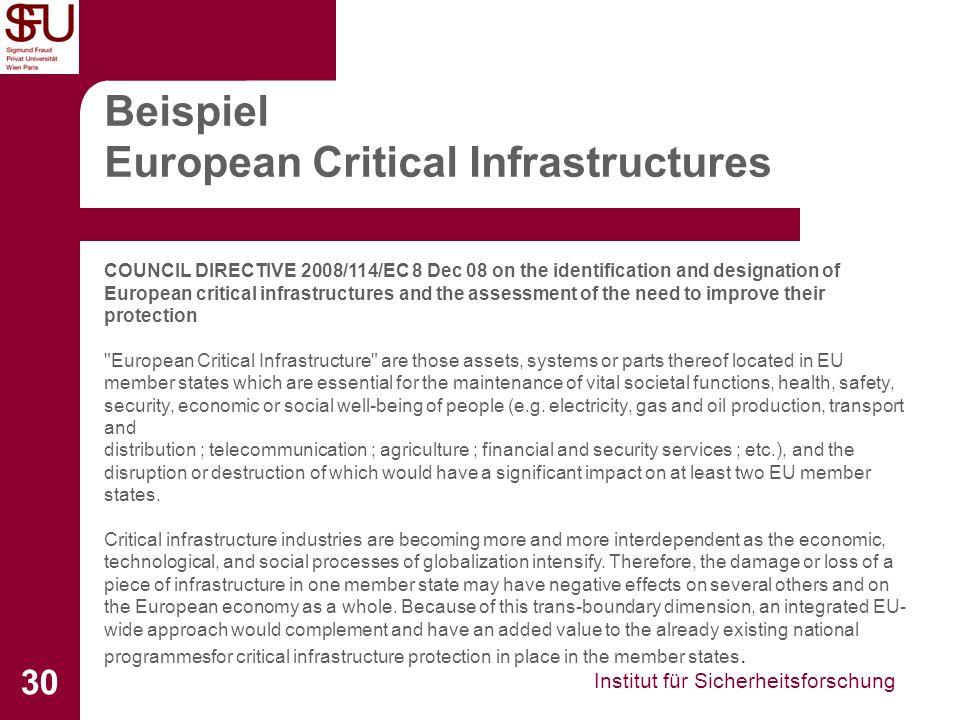 Institut für Sicherheitsforschung 30 Beispiel European Critical Infrastructures COUNCIL DIRECTIVE 2008/114/EC 8 Dec 08 on the identification and desig