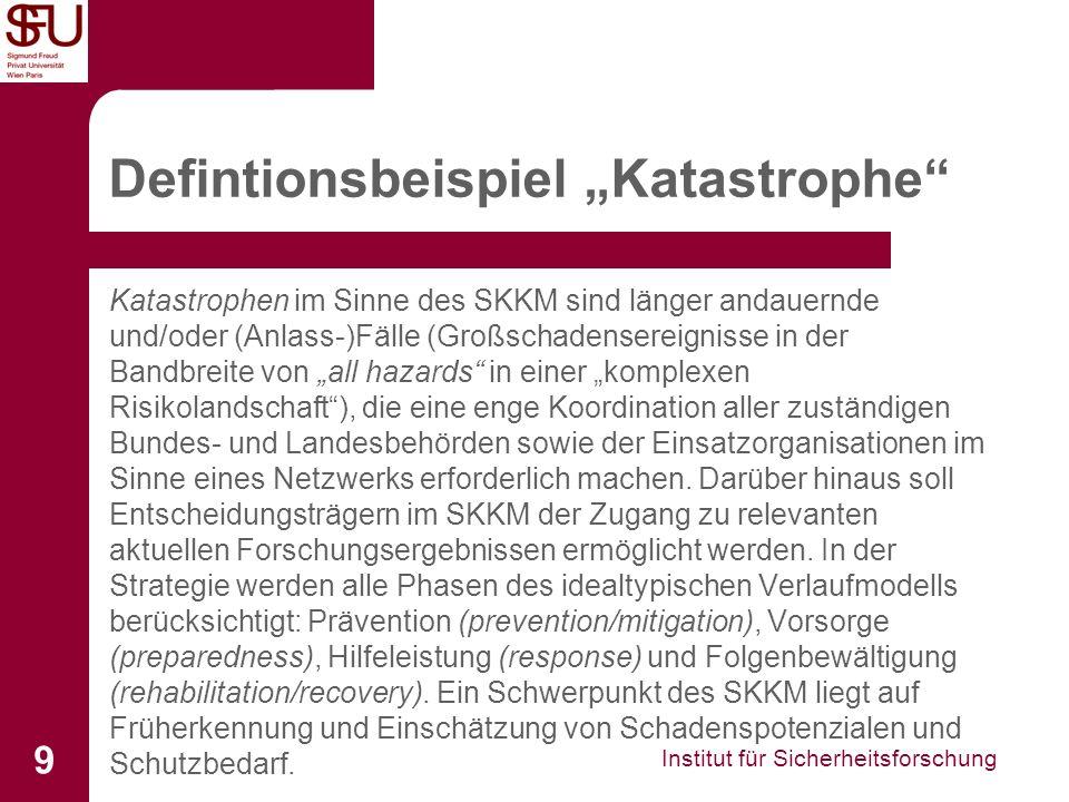 Institut für Sicherheitsforschung 9 Defintionsbeispiel Katastrophe Katastrophen im Sinne des SKKM sind länger andauernde und/oder (Anlass-)Fälle (Groß