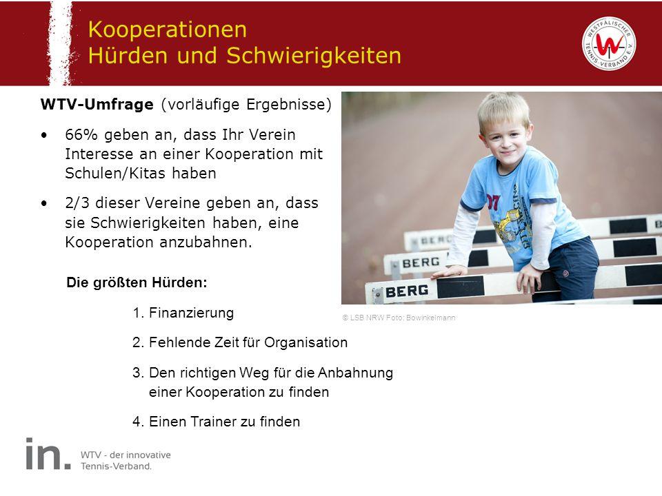 Kooperationen Hürden und Schwierigkeiten WTV-Umfrage (vorläufige Ergebnisse) 66% geben an, dass Ihr Verein Interesse an einer Kooperation mit Schulen/