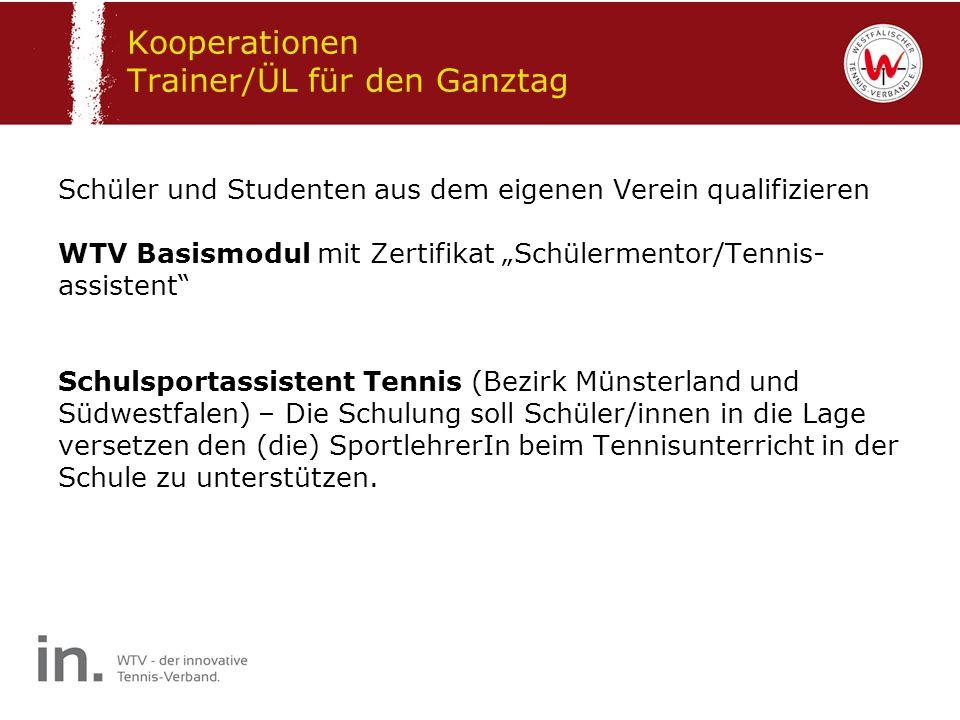Schüler und Studenten aus dem eigenen Verein qualifizieren WTV Basismodul mit Zertifikat Schülermentor/Tennis- assistent Schulsportassistent Tennis (B