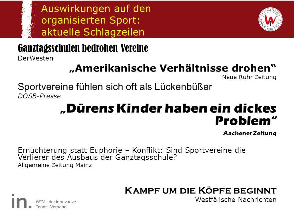 Auswirkungen auf den organisierten Sport: aktuelle Schlagzeilen Ganztagsschulen bedrohen Vereine DerWesten Amerikanische Verhältnisse drohen Neue Ruhr