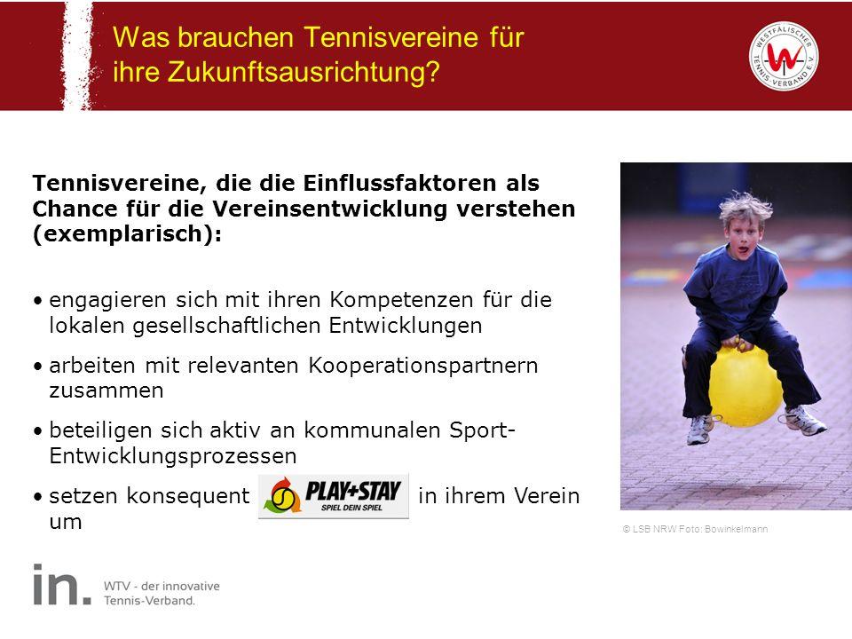 Was brauchen Tennisvereine für ihre Zukunftsausrichtung? © LSB NRW Foto: Bowinkelmann Tennisvereine, die die Einflussfaktoren als Chance für die Verei