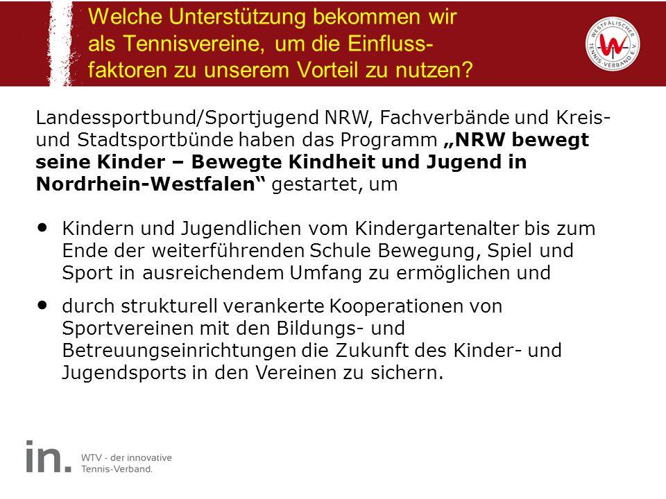 Welche Unterstützung bekommen wir als Tennisvereine, um die Einfluss- faktoren zu unserem Vorteil zu nutzen? Landessportbund/Sportjugend NRW, Fachverb