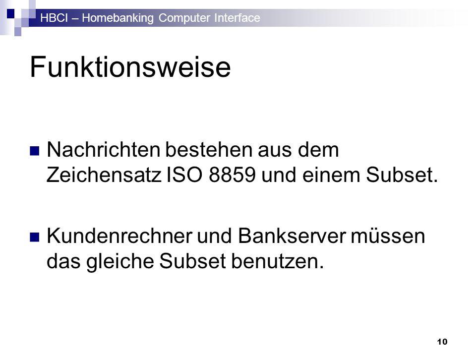 HBCI – Homebanking Computer Interface 10 Funktionsweise Nachrichten bestehen aus dem Zeichensatz ISO 8859 und einem Subset. Kundenrechner und Bankserv