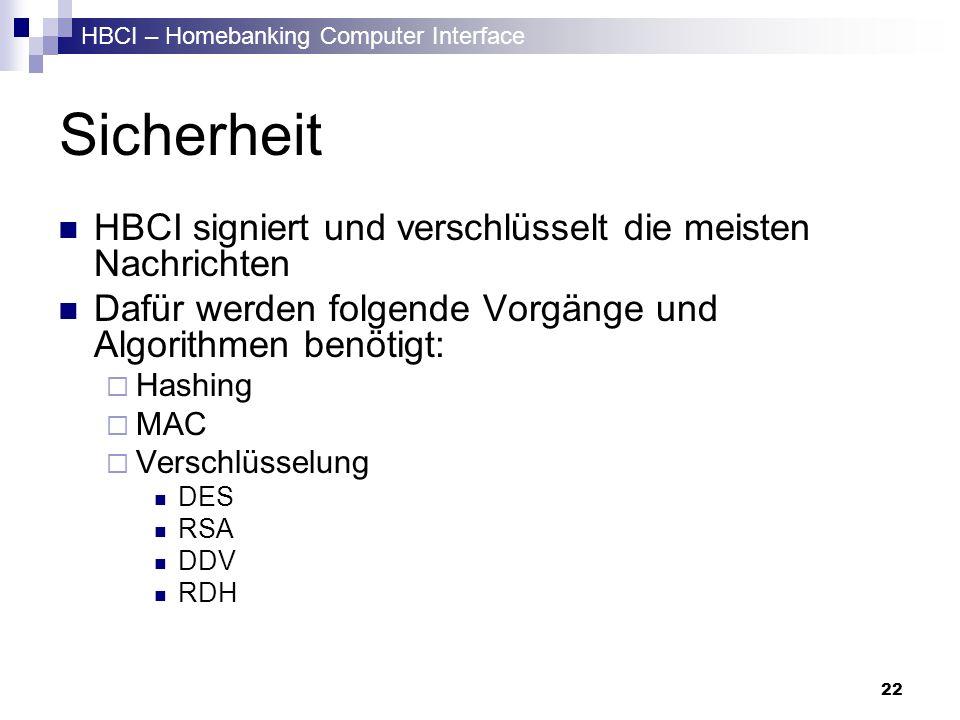 HBCI – Homebanking Computer Interface 22 Sicherheit HBCI signiert und verschlüsselt die meisten Nachrichten Dafür werden folgende Vorgänge und Algorit
