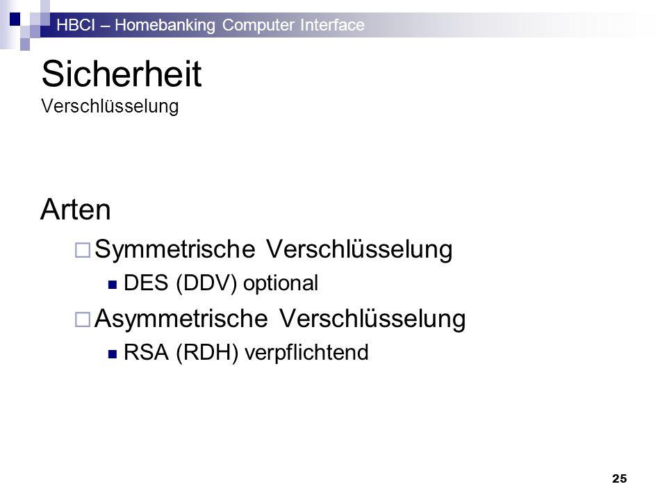 HBCI – Homebanking Computer Interface 25 Sicherheit Verschlüsselung Arten Symmetrische Verschlüsselung DES (DDV) optional Asymmetrische Verschlüsselun