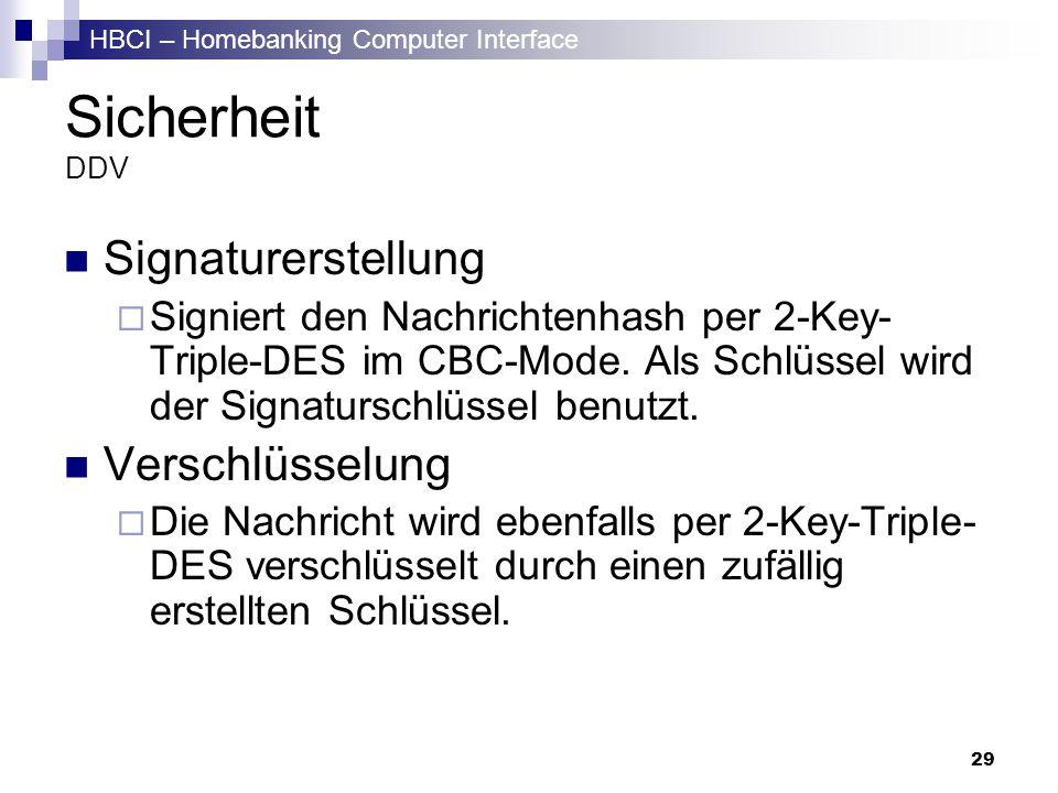 HBCI – Homebanking Computer Interface 29 Sicherheit DDV Signaturerstellung Signiert den Nachrichtenhash per 2-Key- Triple-DES im CBC-Mode. Als Schlüss