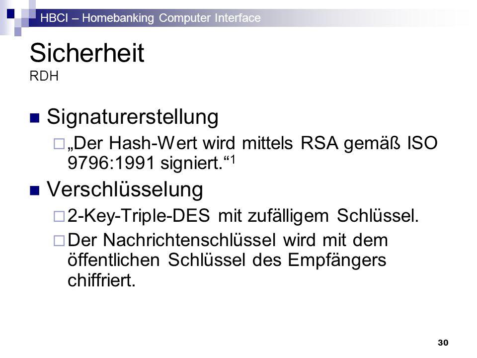 HBCI – Homebanking Computer Interface 30 Sicherheit RDH Signaturerstellung Der Hash-Wert wird mittels RSA gemäß ISO 9796:1991 signiert. 1 Verschlüssel
