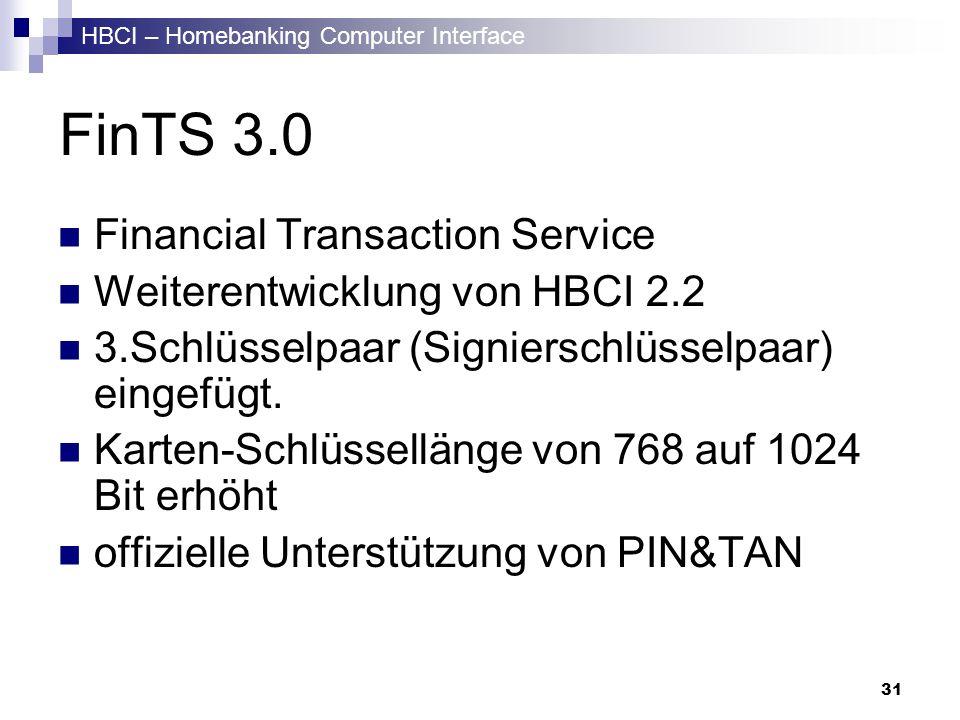 HBCI – Homebanking Computer Interface 31 FinTS 3.0 Financial Transaction Service Weiterentwicklung von HBCI 2.2 3.Schlüsselpaar (Signierschlüsselpaar)