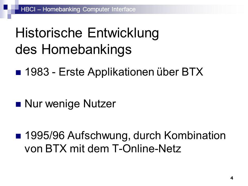 HBCI – Homebanking Computer Interface 4 Historische Entwicklung des Homebankings 1983 - Erste Applikationen über BTX Nur wenige Nutzer 1995/96 Aufschw