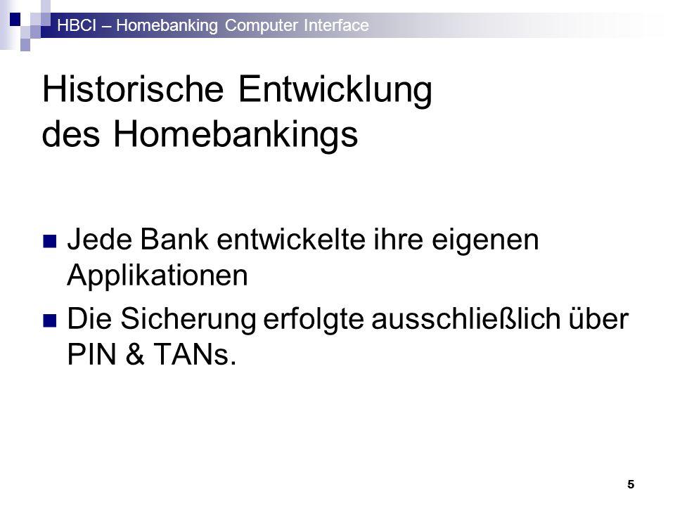 HBCI – Homebanking Computer Interface 6 Historische Entwicklung Idee -> HBCI Transportnetzunabhängigkeit Plattformunabhängigkeit Internationalität Offlinebearbeitbarkeit von Aufträgen Multibankfähigkeit Softwareunabhängigkeit Kontrollmöglichkeiten von Aufträgen Sicherheit