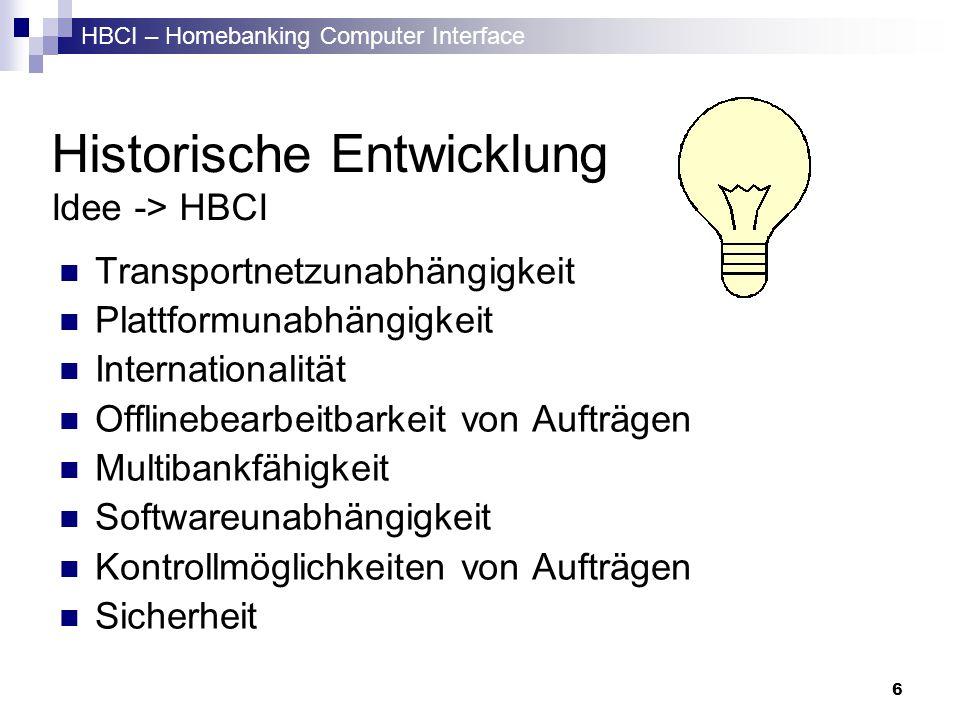 HBCI – Homebanking Computer Interface 6 Historische Entwicklung Idee -> HBCI Transportnetzunabhängigkeit Plattformunabhängigkeit Internationalität Off