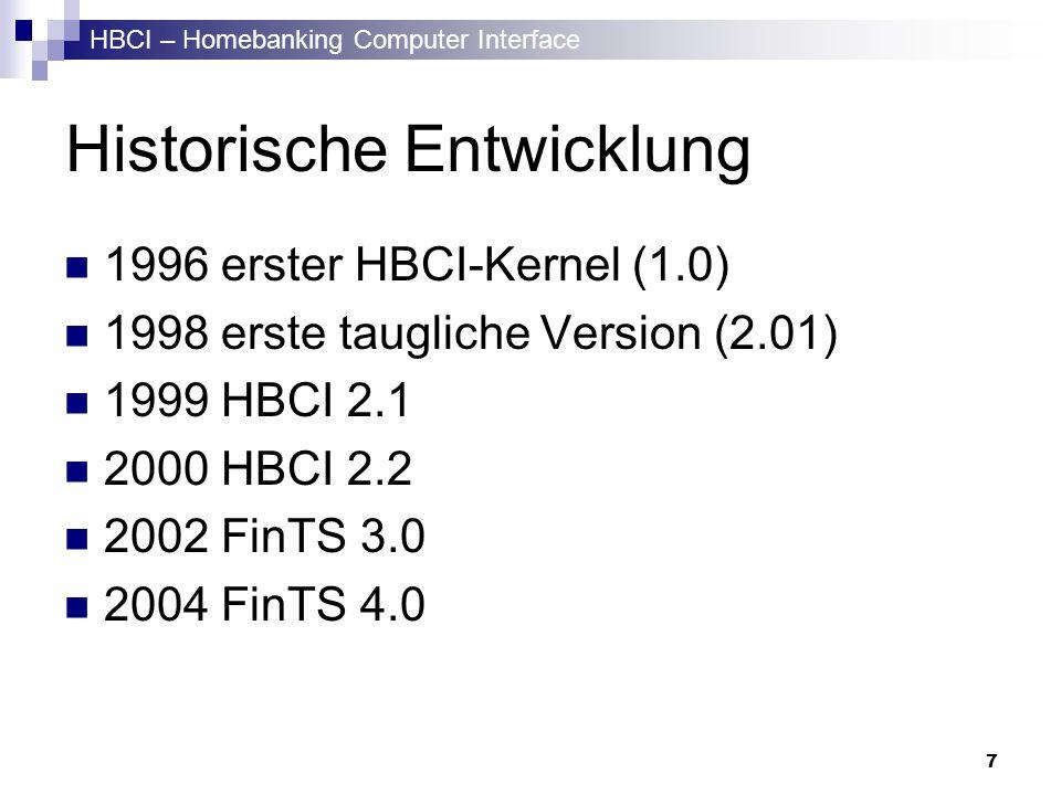 HBCI – Homebanking Computer Interface 7 Historische Entwicklung 1996 erster HBCI-Kernel (1.0) 1998 erste taugliche Version (2.01) 1999 HBCI 2.1 2000 H