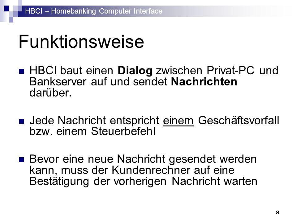 HBCI – Homebanking Computer Interface 8 Funktionsweise HBCI baut einen Dialog zwischen Privat-PC und Bankserver auf und sendet Nachrichten darüber. Je