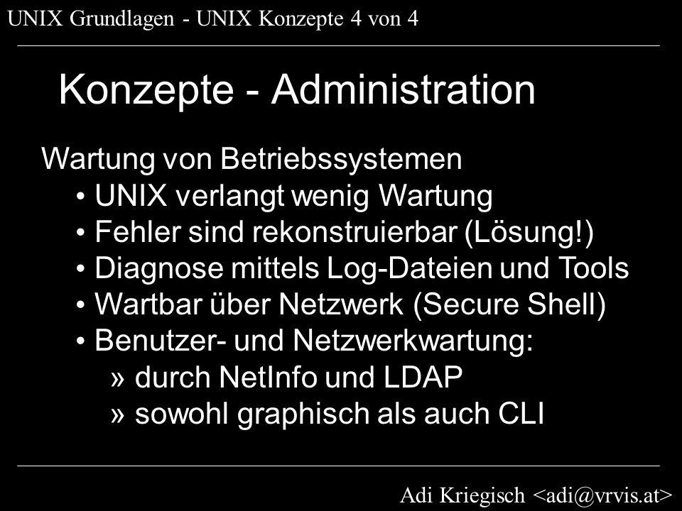 Adi Kriegisch UNIX Grundlagen - Dateisystem 1 von 4 Dateisystem Sicherheit und Zugriffskontrolle » drwxr-xr-x - Permissions » Reflektiert Benutzer/Gruppensicherheit » Gegensatz: Access Control Lists (M$) Organisation der Daten und Programme » UNIX-spezifisches » Applespezifisches » Internationalisierung Spezielle Features (Journaling)