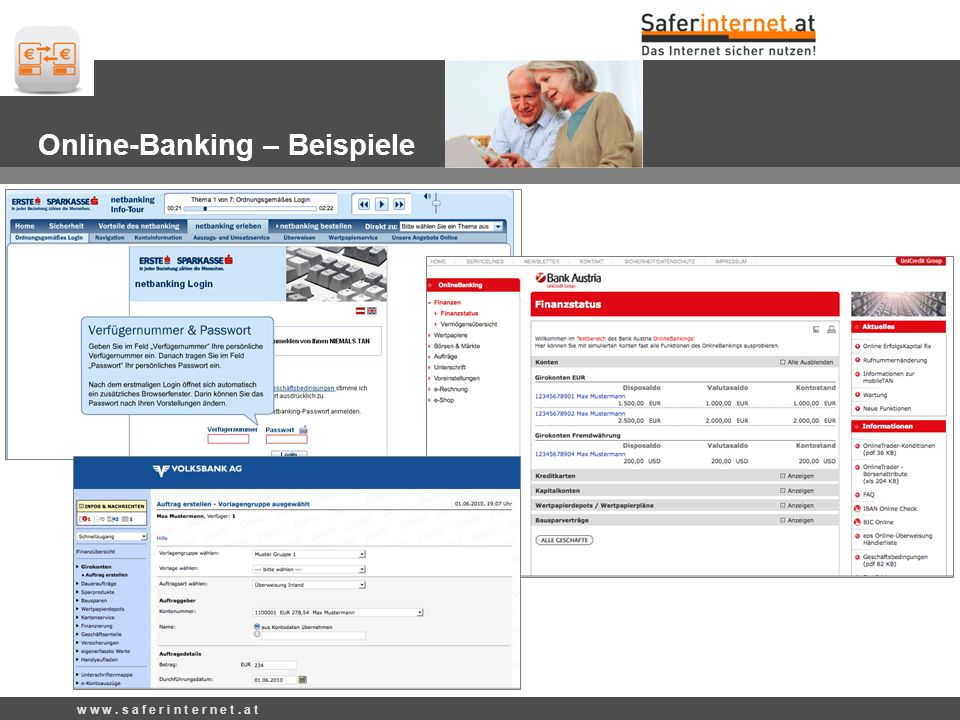 Beispiele Online-Banking – Beispiele w w w. s a f e r i n t e r n e t. a t