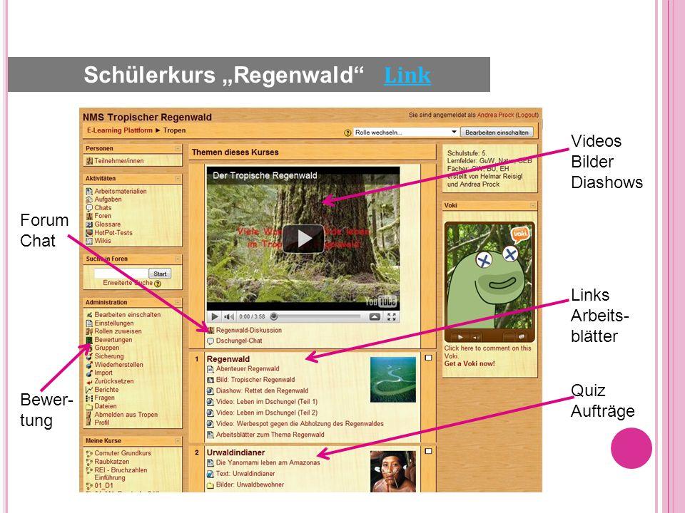 Videos Bilder Diashows Links Arbeits- blätter Quiz Aufträge Forum Chat Bewer- tung Schülerkurs Regenwald Link Link