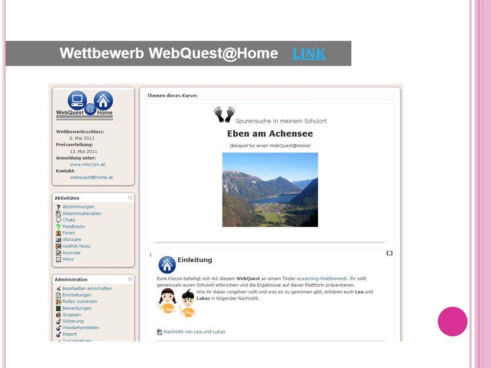 Wettbewerb WebQuest@Home LINK LINK