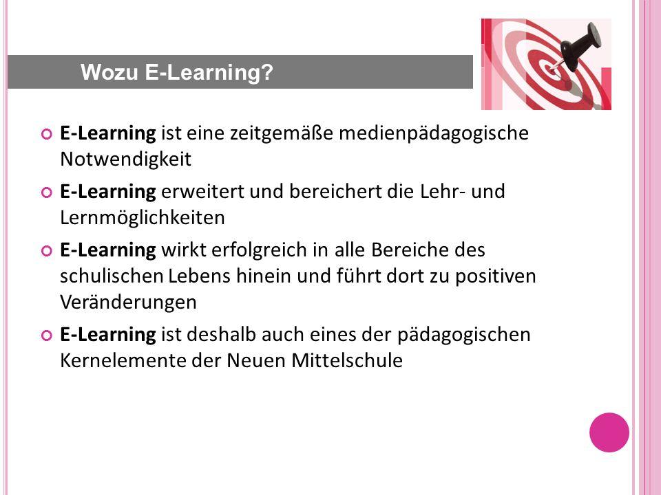 E-Learning ist eine zeitgemäße medienpädagogische Notwendigkeit E-Learning erweitert und bereichert die Lehr- und Lernmöglichkeiten E-Learning wirkt erfolgreich in alle Bereiche des schulischen Lebens hinein und führt dort zu positiven Veränderungen E-Learning ist deshalb auch eines der pädagogischen Kernelemente der Neuen Mittelschule Wozu E-Learning