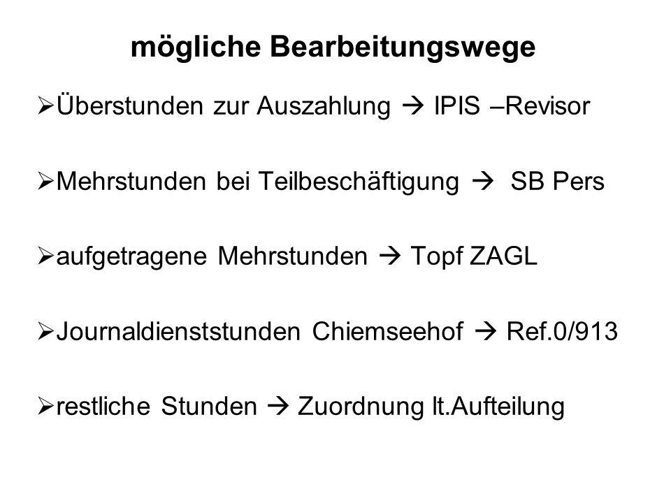 Überstunden zur Auszahlung IPIS –Revisor Mehrstunden bei Teilbeschäftigung SB Pers aufgetragene Mehrstunden Topf ZAGL Journaldienststunden Chiemseehof