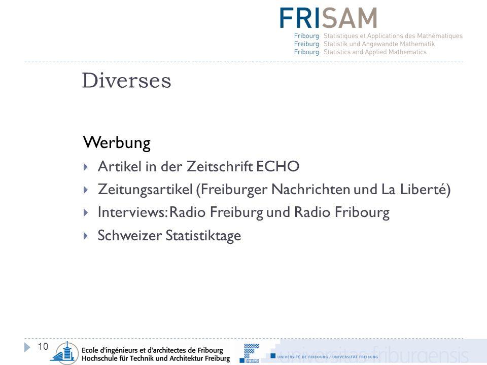Diverses 10 Werbung Artikel in der Zeitschrift ECHO Zeitungsartikel (Freiburger Nachrichten und La Liberté) Interviews: Radio Freiburg und Radio Fribourg Schweizer Statistiktage