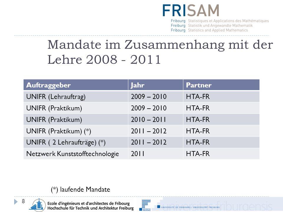 Mandate im Zusammenhang mit der Lehre 2008 - 2011 8 AuftraggeberJahrPartner UNIFR (Lehrauftrag)2009 – 2010HTA-FR UNIFR (Praktikum)2009 – 2010HTA-FR UNIFR (Praktikum)2010 – 2011HTA-FR UNIFR (Praktikum) (*)2011 – 2012HTA-FR UNIFR ( 2 Lehraufträge) (*)2011 – 2012HTA-FR Netzwerk Kunststofftechnologie2011HTA-FR (*) laufende Mandate