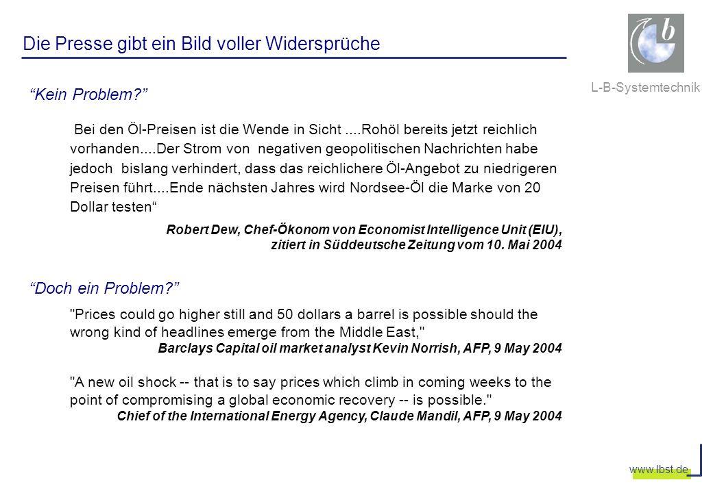 L-B-Systemtechnik www.lbst.de Die Presse gibt ein Bild voller Widersprüche Kein Problem? Bei den Öl-Preisen ist die Wende in Sicht....Rohöl bereits je