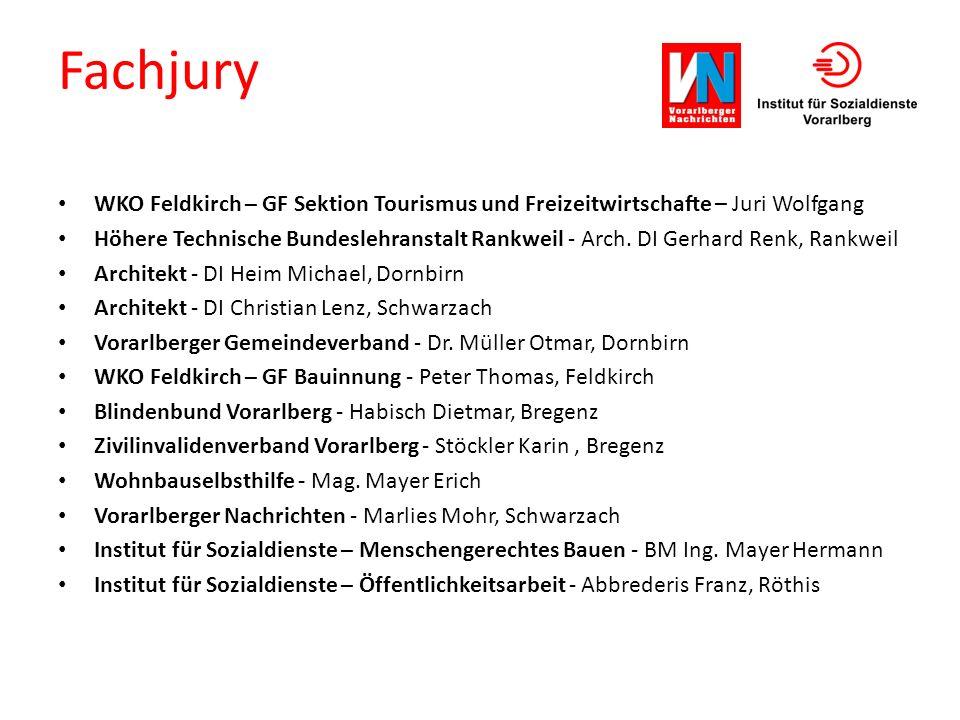 Fachjury WKO Feldkirch – GF Sektion Tourismus und Freizeitwirtschafte – Juri Wolfgang Höhere Technische Bundeslehranstalt Rankweil - Arch. DI Gerhard