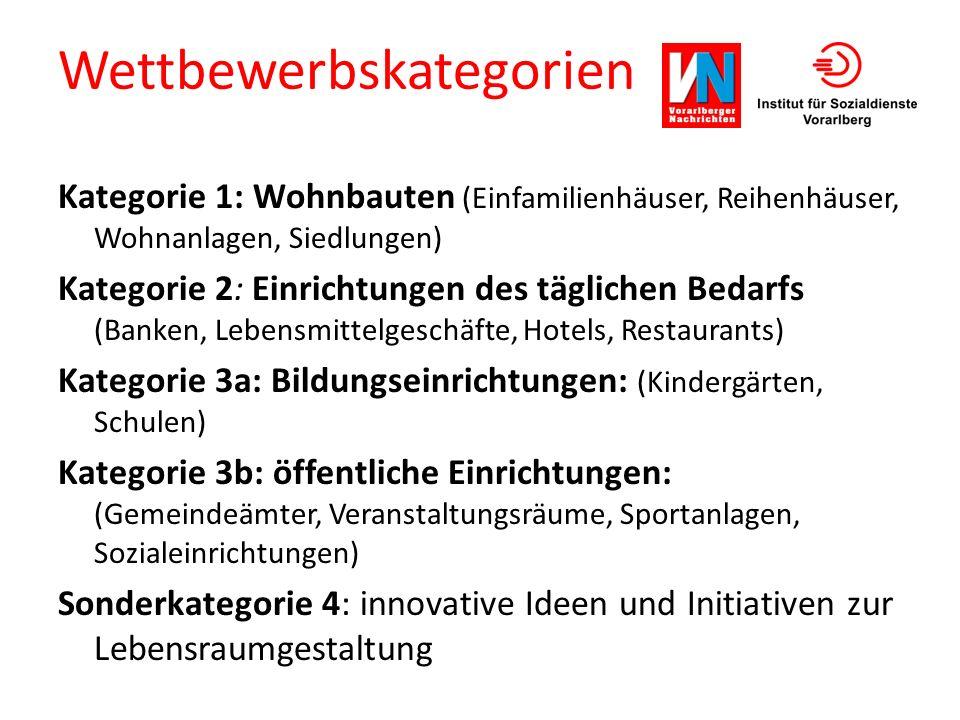 Wettbewerbskategorien Kategorie 1: Wohnbauten (Einfamilienhäuser, Reihenhäuser, Wohnanlagen, Siedlungen) Kategorie 2: Einrichtungen des täglichen Beda
