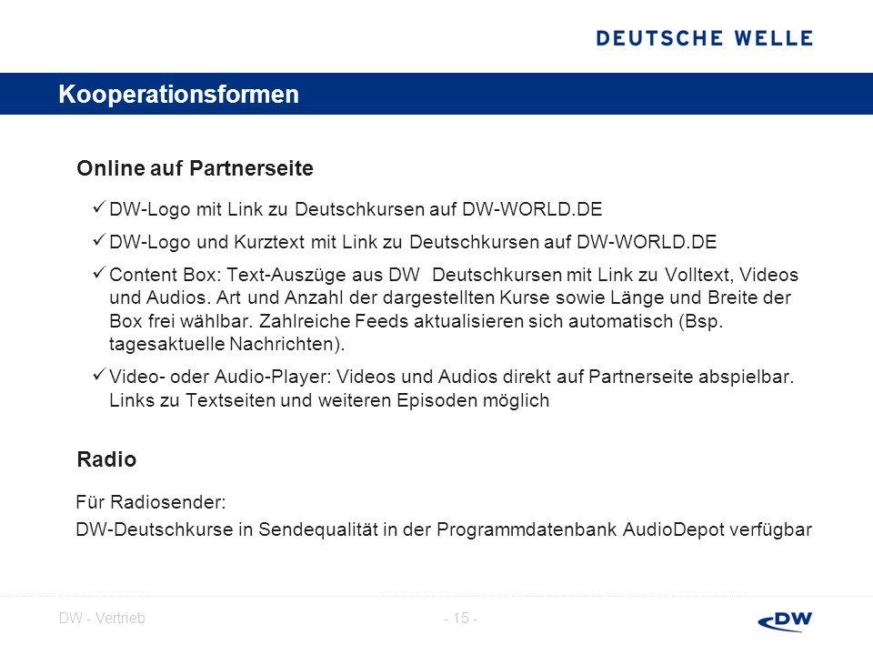 - 16 -DW - Vertrieb Kooperationsformen | Beispiele: Content Box Text-Auszüge aus DW Deutschkursen mit Link zu Volltext, Videos und Audios Art und Anzahl der dargestellten Kurse frei wählbar Länge und Breite der Box frei wählbar Feeds von Kursen mit laufend neuen Episoden aktualisieren sich automatisch