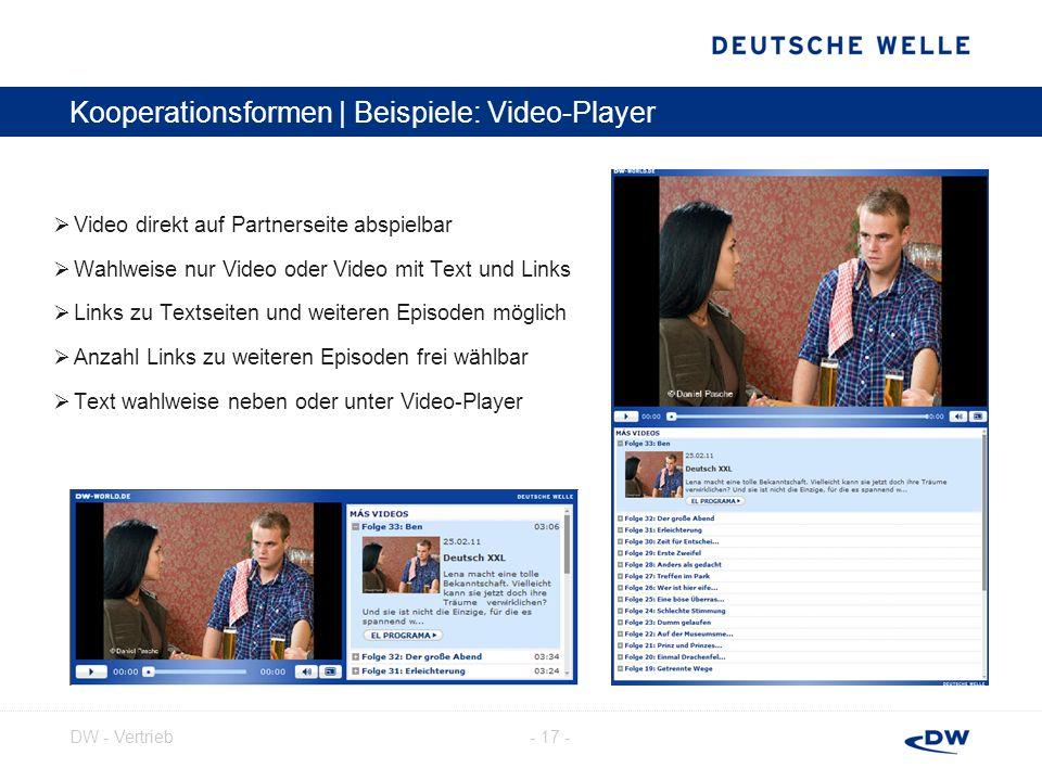 - 18 -DW - Vertrieb Kooperationsformen | Beispiele: Audio-Player Audio direkt auf Partnerseite abspielbar Links zu Materialien, weiteren Episoden oder anderen Internetseiten möglich