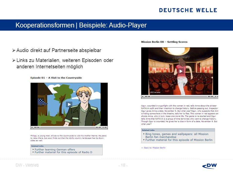 - 18 -DW - Vertrieb Kooperationsformen | Beispiele: Audio-Player Audio direkt auf Partnerseite abspielbar Links zu Materialien, weiteren Episoden oder
