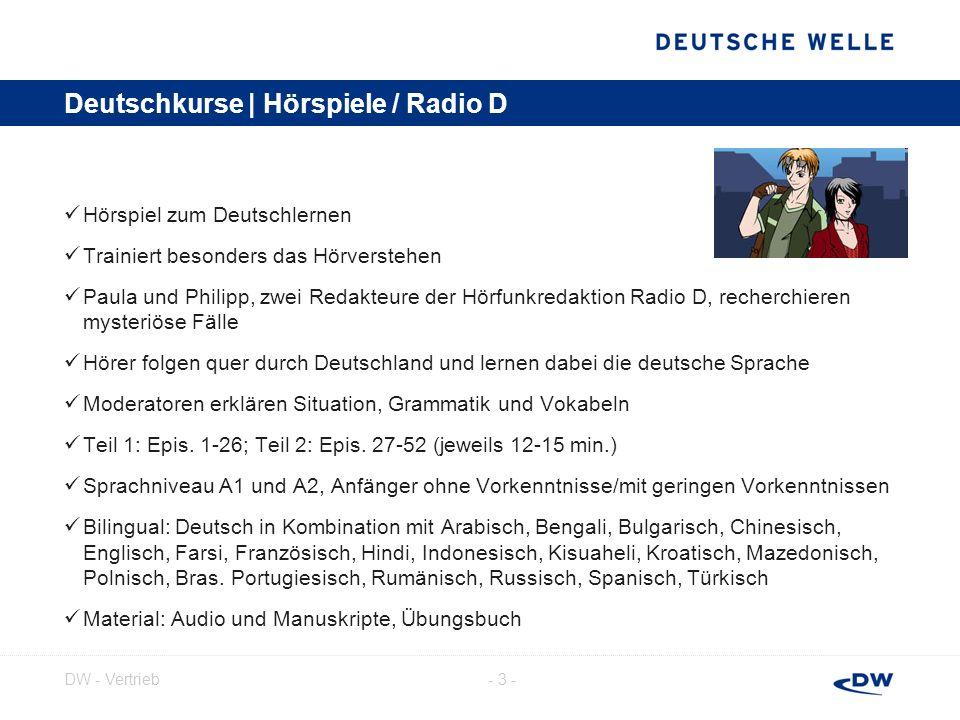 - 4 -DW - Vertrieb Deutschkurse | Hörspiele / Mission Berlin Gehört zum Koproduktionsprojekt Mission Europe Multimedia-Abenteuer als Hörspielkrimi und als iPhone-App Inhalt: Anna soll eine Bande von Zeitgangstern daran hindern, die Vergangenheit wiederherzustellen und Deutschland ins geschichtliche Chaos zu stürzen.