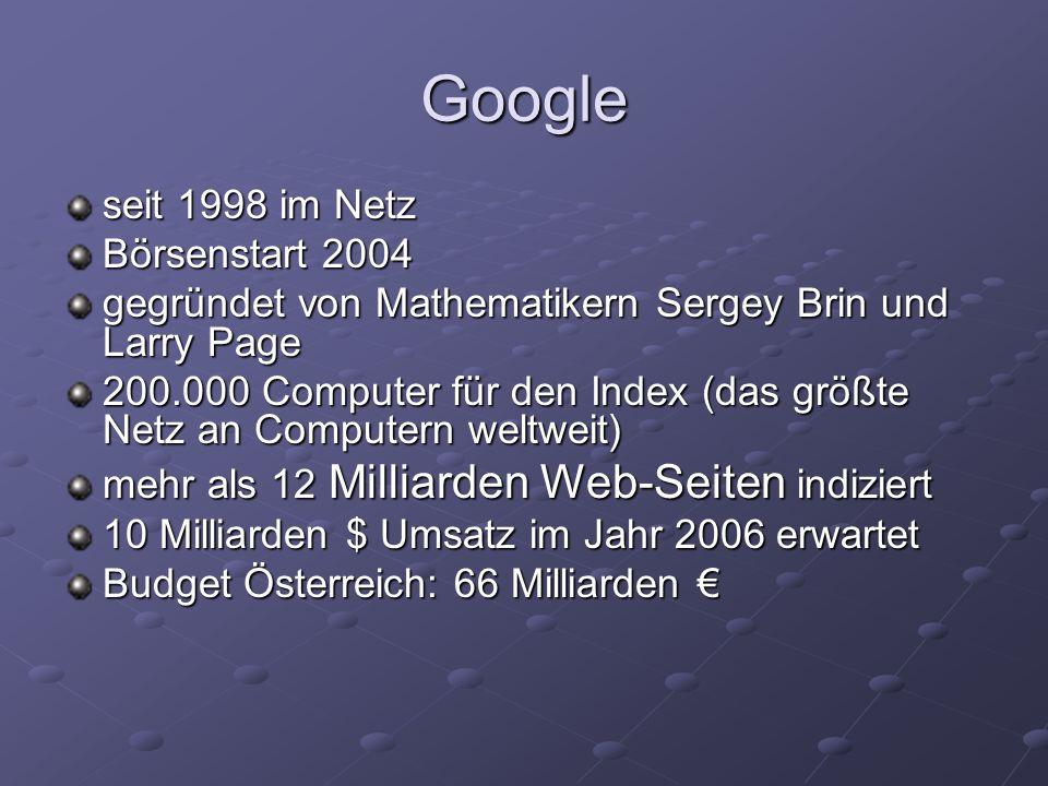 seit 1998 im Netz Börsenstart 2004 gegründet von Mathematikern Sergey Brin und Larry Page 200.000 Computer für den Index (das größte Netz an Computern