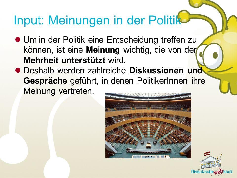 Input: Meinungen in der Politik Um in der Politik eine Entscheidung treffen zu können, ist eine Meinung wichtig, die von der Mehrheit unterstützt wird