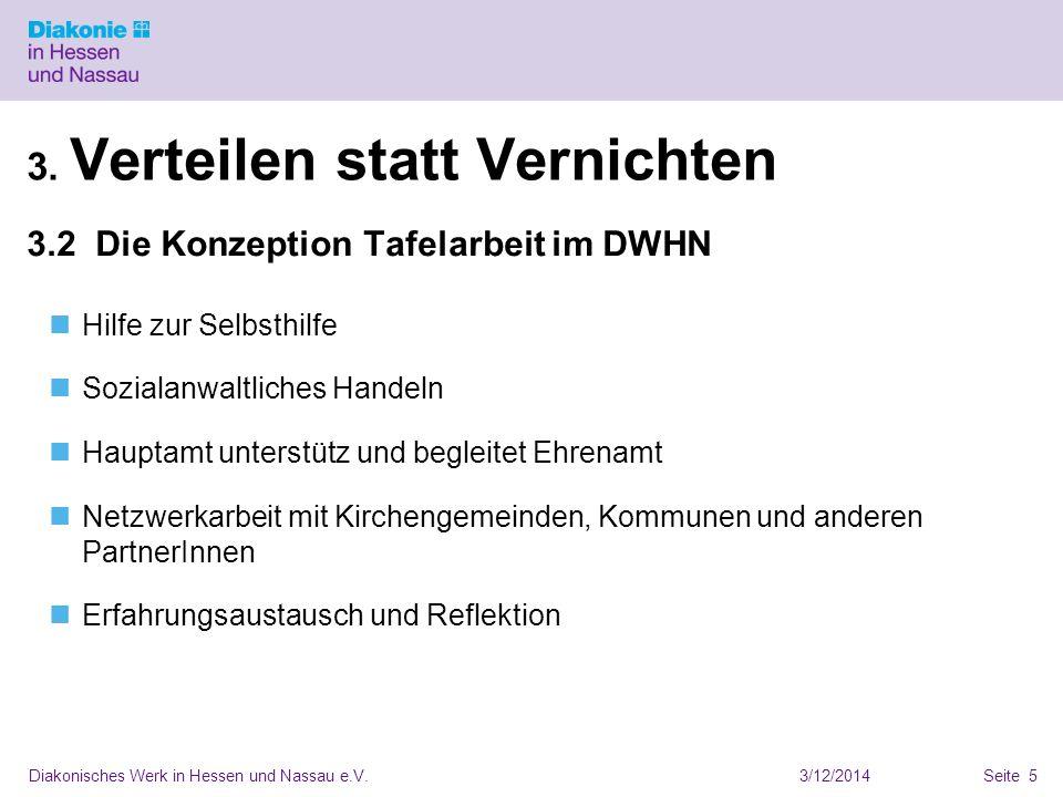 3/12/2014Diakonisches Werk in Hessen und Nassau e.V.Seite 5 3. Verteilen statt Vernichten 3.2 Die Konzeption Tafelarbeit im DWHN Hilfe zur Selbsthilfe