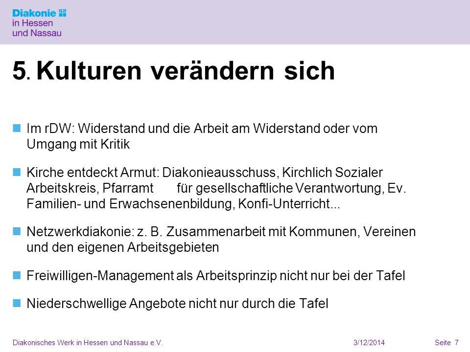 3/12/2014Diakonisches Werk in Hessen und Nassau e.V.Seite 7 5. Kulturen verändern sich Im rDW: Widerstand und die Arbeit am Widerstand oder vom Umgang
