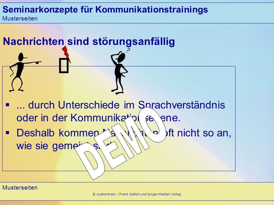 Musterseiten 2 © customtrain – Frank Gellert und Jünger Medien Verlag Nachrichten sind störungsanfällig... durch Unterschiede im Sprachverständnis ode