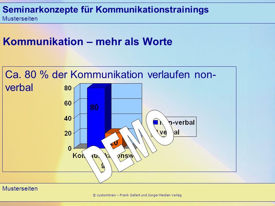 Seminarkonzepte für Kommunikationstrainings Musterseiten 4 © customtrain – Frank Gellert und Jünger Medien Verlag Kommunikation – mehr als Worte Ca. 8
