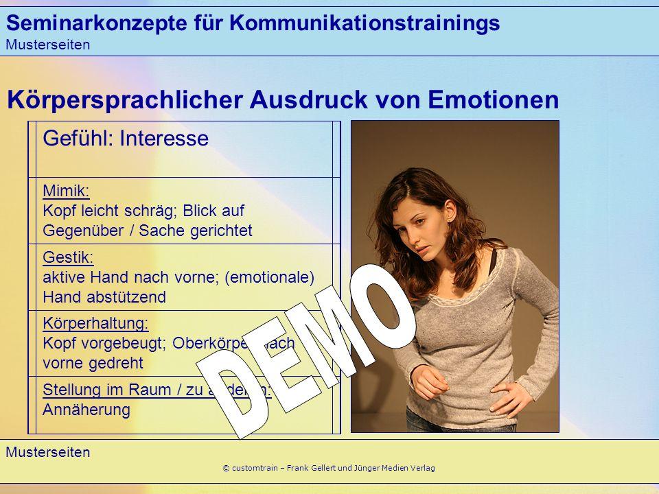 Seminarkonzepte für Kommunikationstrainings Musterseiten 9 © customtrain – Frank Gellert und Jünger Medien Verlag Körpersprachlicher Ausdruck von Emot