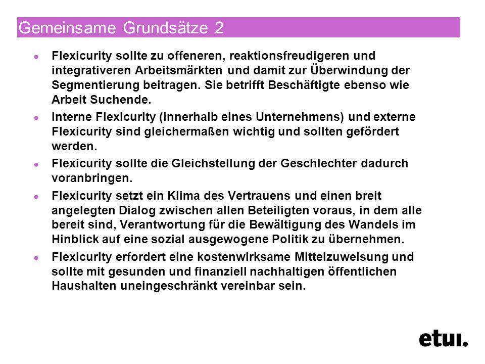 Insbesondere wird Deutschland empfohlen die rechtlichen Rahmenbedingungen für den Wettbewerb im Dienstleistungssektor durch Verbesserung der Verfahren zur Vergabe öffentlicher Aufträge, weitere Lockerung der restriktiven Vorschriften für reglementierte Berufe und Gewerbe sowie weitere Verbesserung des Zugangs zum Schienennetz zu verbessern; die geplanten Maßnahmen zur Steigerung der Effizienz der Arbeitsvermittlung fortzuführen und die Eingliederung von Geringqualifizierten und Langzeitarbeitslosen in den Arbeitsmarkt im Rahmen eines Flexicurity-Konzepts, das einen besseren Zugang zu Qualifikationen mit verbesserten Arbeitsanreizen verbindet, zu fördern.
