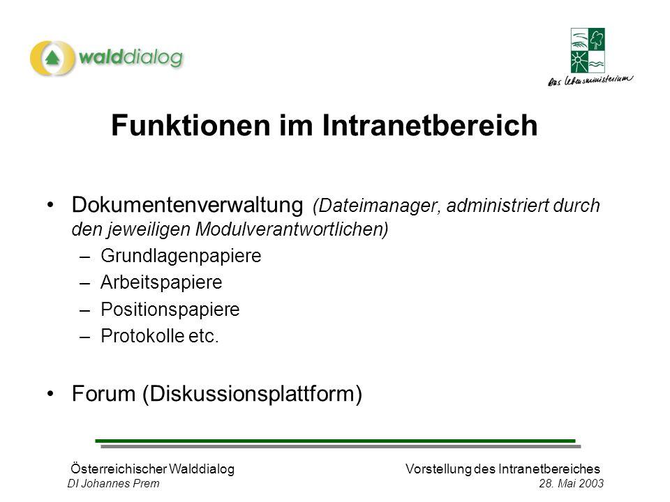 Österreichischer WalddialogVorstellung des Intranetbereiches DI Johannes Prem 28.