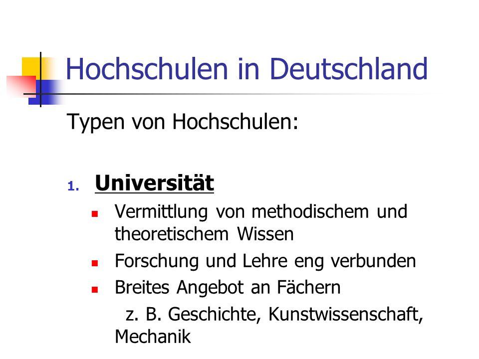 Hochschulen in Deutschland Typen von Hochschulen: 1. Universität Vermittlung von methodischem und theoretischem Wissen Forschung und Lehre eng verbund
