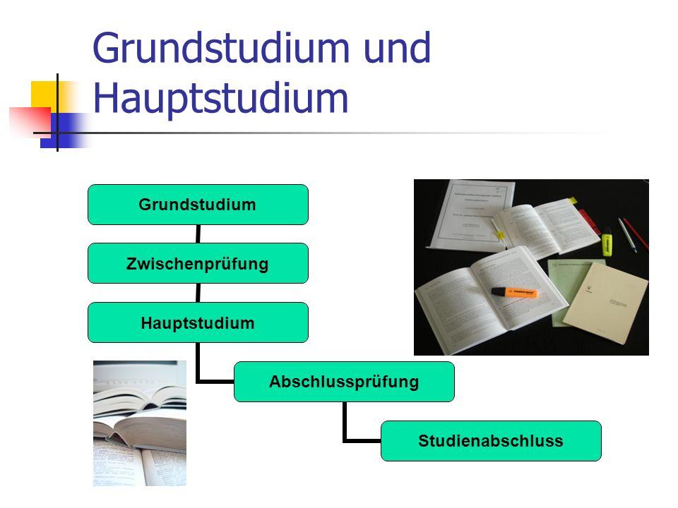 Grundstudium und Hauptstudium Grundstudium Zwischenprüfung Hauptstudium Abschlussprüfung Studienabschluss