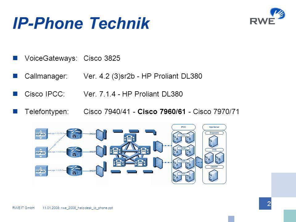 RWE IT GmbH 11.01.2008: rwe_2008_helpdesk_ip_phone.ppt 2 IP-Phone Technik VoiceGateways:Cisco 3825 Callmanager:Ver. 4.2 (3)sr2b - HP Proliant DL380 Ci